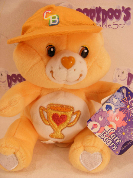 "RARE CELEBRATION COLL 8"" CHAMP CARE BEARS BEANIE"